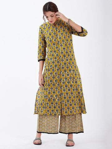 Image of LYLA WOMAN BLOCK PRINTED KURTA PALAZZO SET