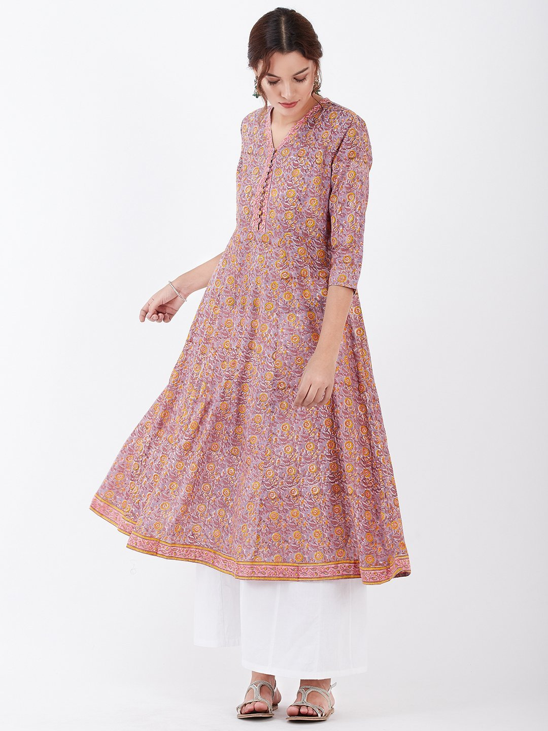 LYLA WOMAN BLOCK PRINTED ANARKALI