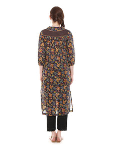 A-line Relaxed Printed Cotton Mulmul Kurta