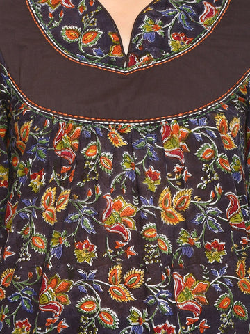 Image of A-line Relaxed Printed Cotton Mulmul Kurta