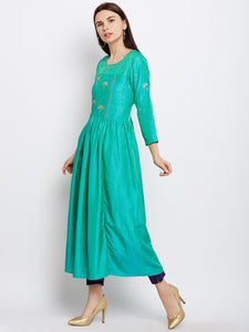 Green Silk Kurta with Machine Embroidery