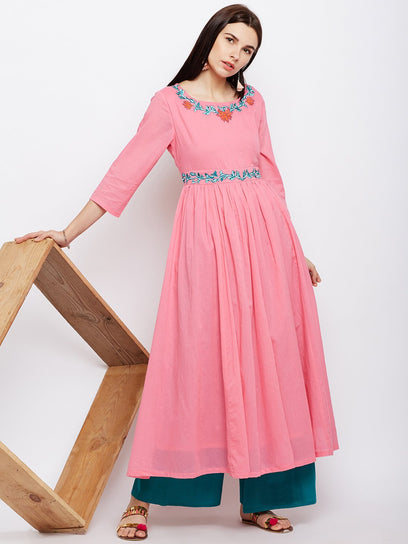 solid cotton pink anarkali