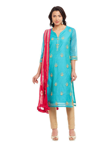 Image of Sky Blue Chanderi Kurta With Bandhni Dupatta