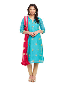 Sky Blue Chanderi Kurta With Bandhni Dupatta