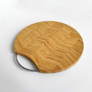 Wholesale Round patterning Extra Large Bamboo Cutting Board / Chopping Board with metal handle