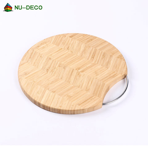 Image of Wholesale Round patterning Extra Large Bamboo Cutting Board / Chopping Board with metal handle