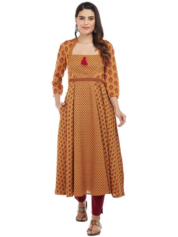 Image of MUSTARD ANARKALI KURTA WITH 3 PRINTS