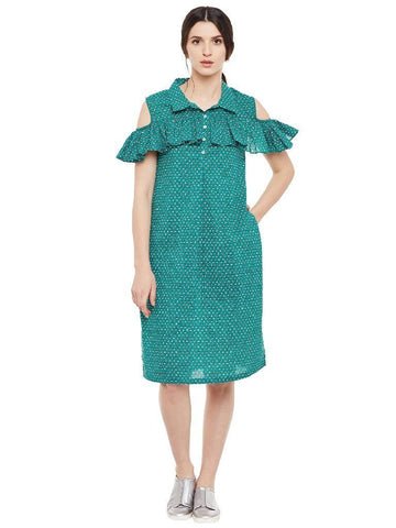 Image of Block printed shirt dress with frill