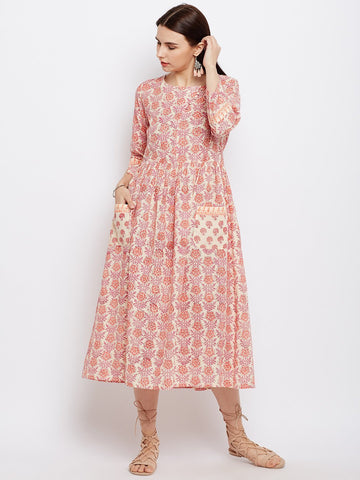 Image of Pink Hand Block Printed Dress with Front Diagonal Buttoning