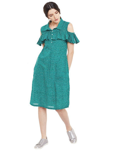 Block printed shirt dress with frill