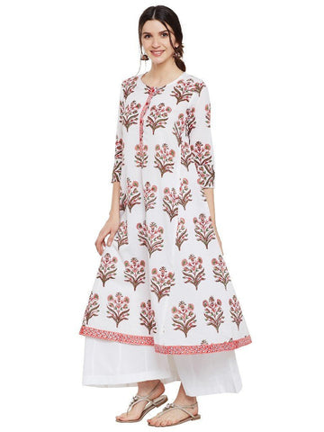 Image of Block-printed-flared-kurta-with-side-kalis