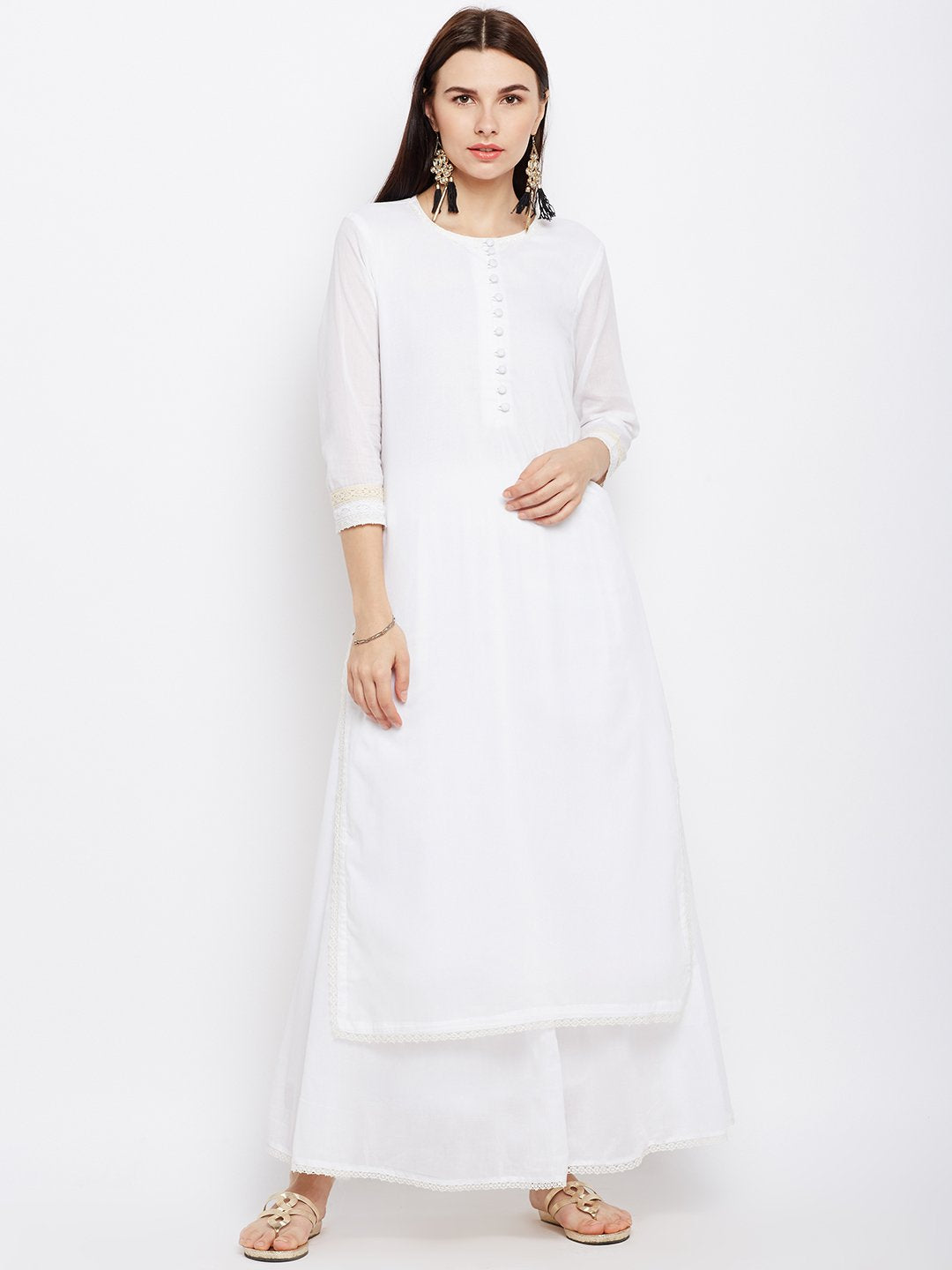Offwhite Kurta Skirt Set with Lace Inserts