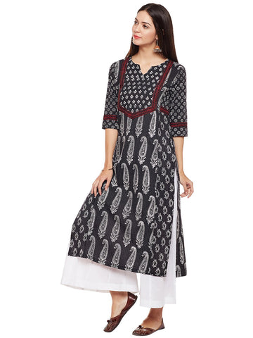 Image of Cotton Kantha Kurta with 2 Prints