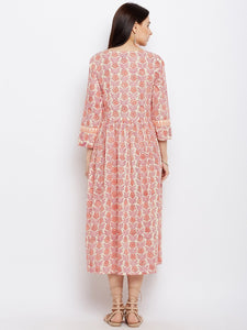 Pink Hand Block Printed Dress with Front Diagonal Buttoning