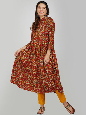 Image of Red Hand Block Printed Anarkali Kurta