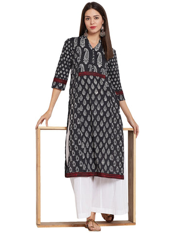 Image of Cotton Kantha Kurta with Front Potli Buttons