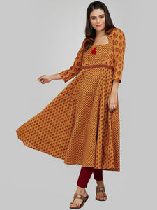 MUSTARD ANARKALI KURTA WITH 3 PRINTS