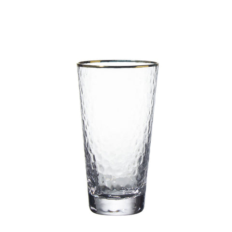 Handmade Lead Free Crystal Wide Mouth Gold Edge Home Goods Wedding Decorative Drinking Glass Cup