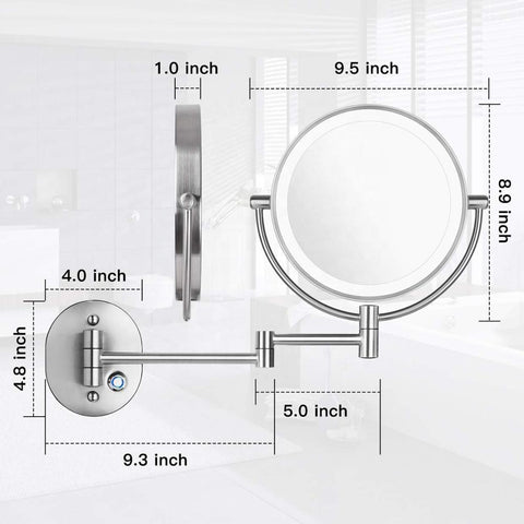 100V-240V Dimmable Touch 1X/10X Magnifying Makeup Lighted Mirror