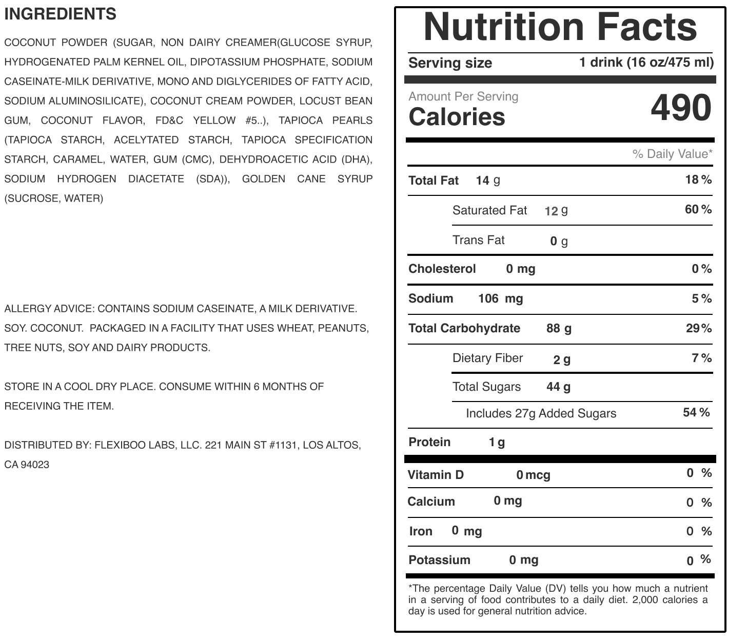 coconut nutrition label