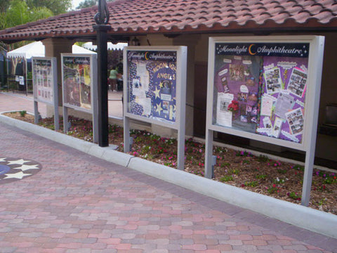 Visiontron Illuminated Outdoor Bulletin Boards with Recessed Glass Doors | Advanced Stanchions