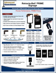 Advanced Stanchions Visiontron Retracta-Belt PRIME Signage Flyer