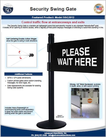 Visiontron Security Swing Gate Flyer | Advanced Stanchions