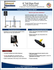 Advanced Stanchions Sign Post 6' Tall