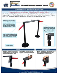 Visiontron Retracta-Belt Post Mount Writing Table Flyer | Advanced Stanchions
