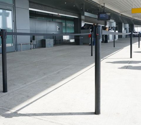 Visiontron Mini Socket Mounted Retracta-Belt Single Line Post | Advanced Stanchions