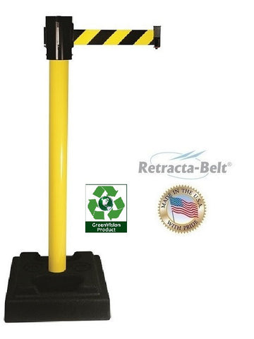 Visiontron Retracta-Belt Utility Post - 15' Belt - Plastic Filled Base - PVC Post