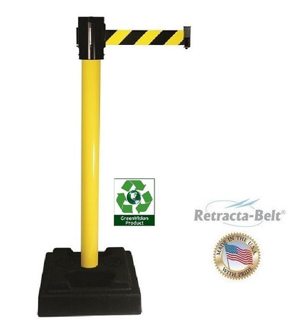 Visiontron Retracta-Belt Utility Post - 10' Belt - Plastic Fillable Base - PVC Post