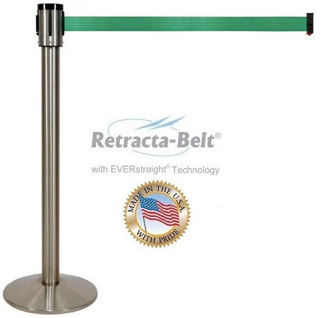 Visiontron Retracta-Belt Single Line Post - 15' Belt - Chrome (Silver) Finish