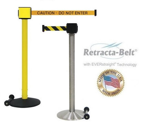 Visiontron Retracta-Belt Single Line Post - 30' Belt - Outdoor - Wheel Base