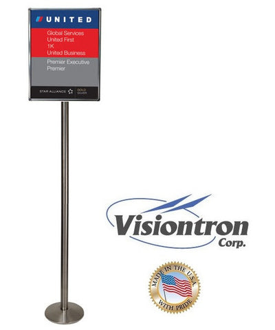 Visiontron 6' Tall Sloped Base Sign Post - Lollipop Sign Stand