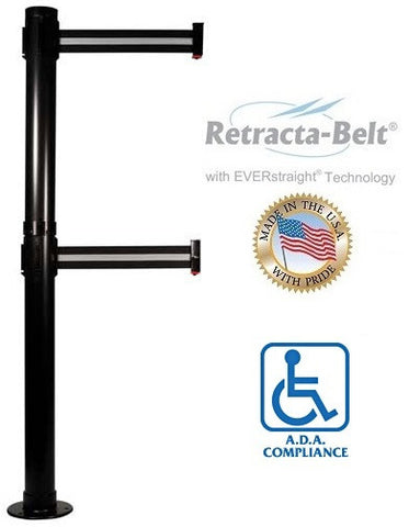 Visiontron Retracta-Belt Fixed Post - 10' Belt - Dual Line