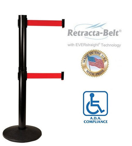 Visiontron Retracta-Belt Dual Line Post - 10' Belt - ADA Compliant