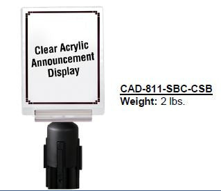 PRIME Clear Acrylic Announcement Display with Sign Bracket and Adapter Cone