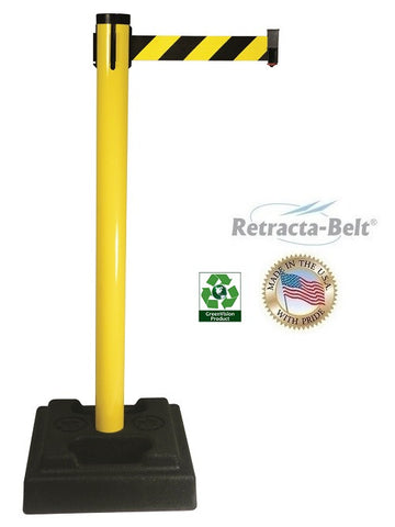 Visiontron Retracta-Belt Utility Post - 10' Belt - Rubber Base - PVC Post