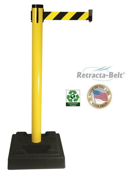 Visiontron Retracta-Belt Utility Posts - 10' Post - Rubber Base - Aluminum