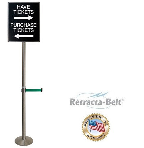Visiontron 6' Tall Sign Post with Retracta-Belt - 10' Belt - Lollipop Sign Stand