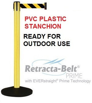 Retracta-Belt PRIME PVC Plastic Outdoor - Set of 2 Posts - 10ft Belts