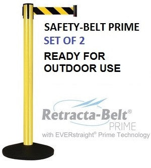 Retracta-Belt PRIME Aluminum Outdoor - Set of 2 Posts - 10ft Belts