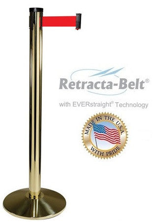 Visiontron Retracta-Belt Single Line Post - 10' Belt - Brass (Gold) Finish