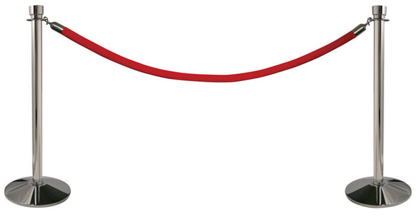 Visiontron Queue-In-A-Box - Polished Chrome with Red Velour Rope