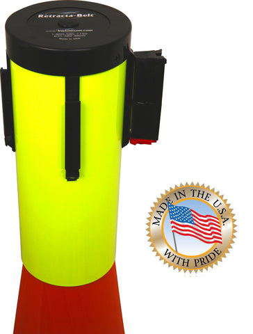Visiontron Retracta-Cone Cone Toppers - 15' Belt - Fluorescent Yellow
