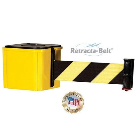 Visiontron Wall Mount Retracta-Belt 412 Series - Yellow - 15' Belt