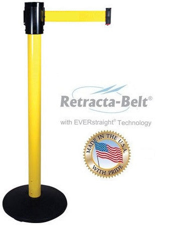 Visiontron Retracta-Belt Single Line Post - 15' Belt - OUTDOOR