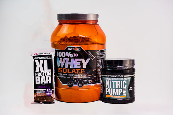 Pachet 900g 100% Whey Isolate + Protein Bar + Nitric Pump