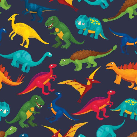 Dinosaurs on Navy Printed French Terry Fabric